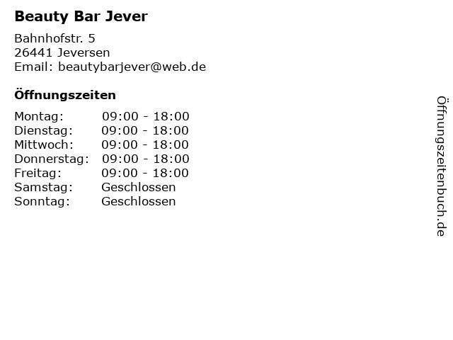 Beauty Bar Jever in Jeversen: Adresse und Öffnungszeiten