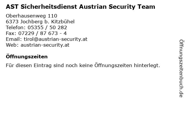 AST Sicherheitsdienst Austrian Security Team in Jochberg b. Kitzbühel: Adresse und Öffnungszeiten