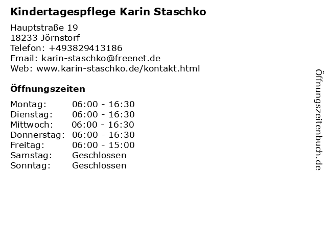 Kindertagespflege Karin Staschko in Jörnstorf: Adresse und Öffnungszeiten