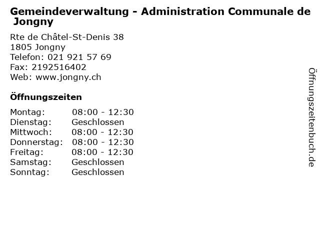 Gemeindeverwaltung - Administration Communale de Jongny in Jongny: Adresse und Öffnungszeiten