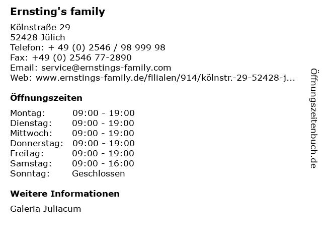 Ernsting's family GmbH & Co. KG in Jülich: Adresse und Öffnungszeiten