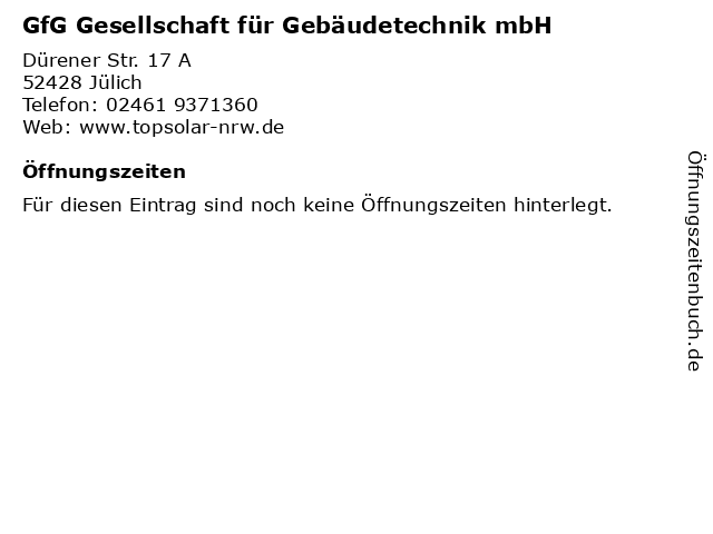 GfG Gesellschaft für Gebäudetechnik mbH in Jülich: Adresse und Öffnungszeiten