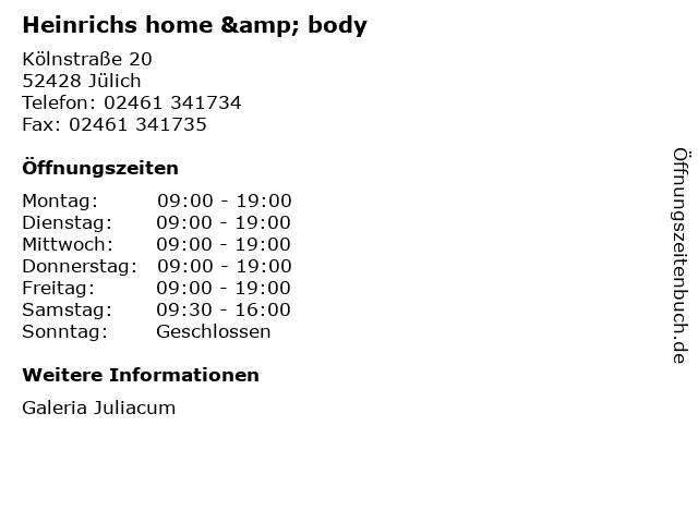 Heinrichs home & body in Jülich: Adresse und Öffnungszeiten