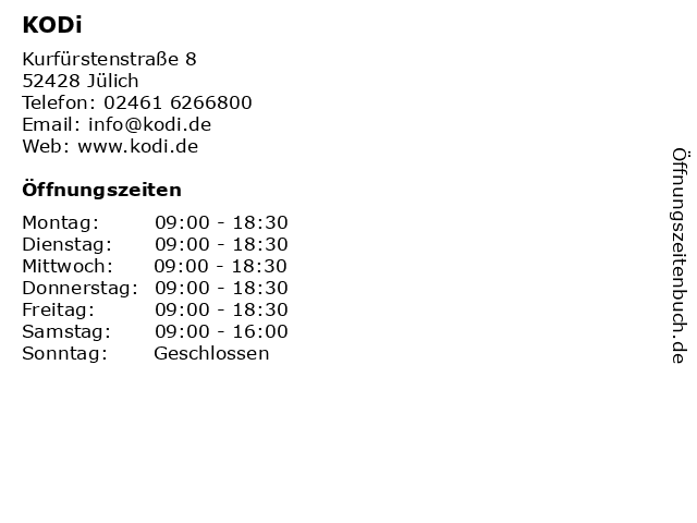 KODi Diskontläden GmbH in Jülich: Adresse und Öffnungszeiten