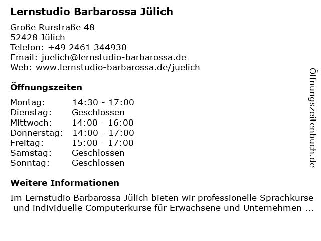 Lernstudio Barbarossa Jülich in Jülich: Adresse und Öffnungszeiten