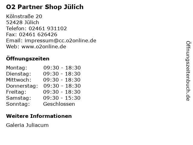 O2 Partner Shop Jülich in Jülich: Adresse und Öffnungszeiten