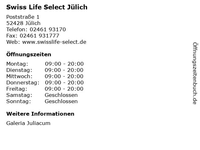 Swiss Life Select Jülich in Jülich: Adresse und Öffnungszeiten