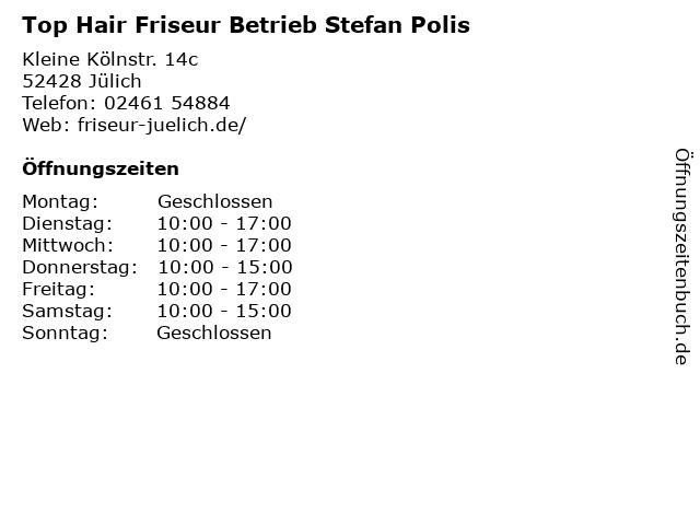 Top Hair Friseur Betrieb Stefan Polis in Jülich: Adresse und Öffnungszeiten