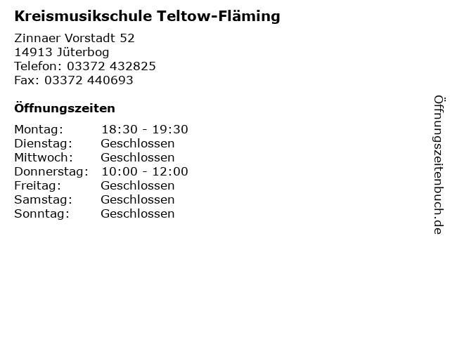 Kreismusikschule Teltow-Fläming in Jüterbog: Adresse und Öffnungszeiten