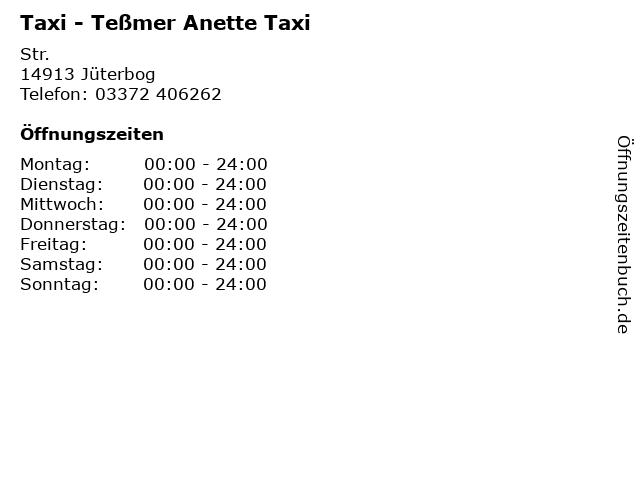 Taxi - Teßmer Anette Taxi in Jüterbog: Adresse und Öffnungszeiten