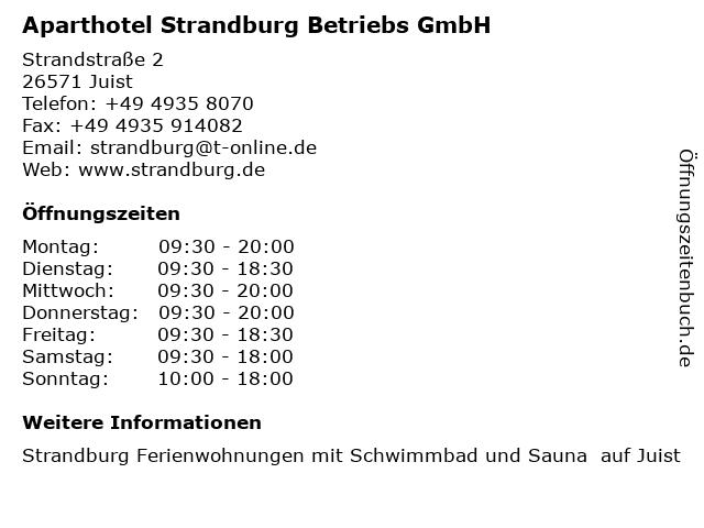 Aparthotel Strandburg Betriebs GmbH in Juist: Adresse und Öffnungszeiten