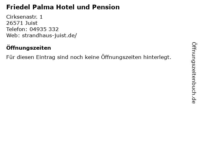 Friedel Palma Hotel und Pension in Juist: Adresse und Öffnungszeiten
