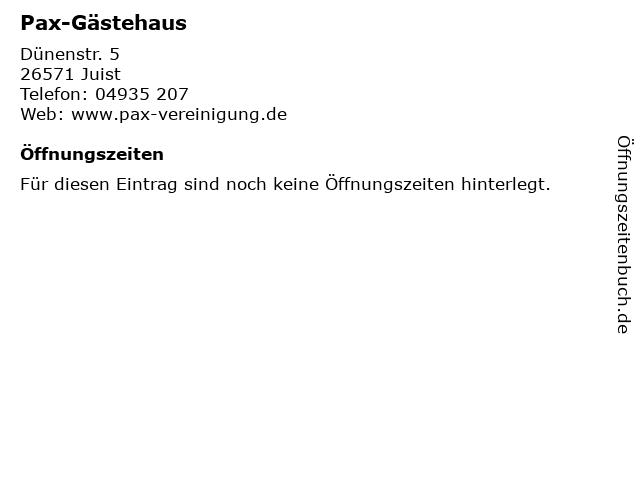 Pax-Gästehaus in Juist: Adresse und Öffnungszeiten