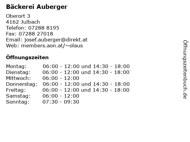 Bäckerei Auberger in Julbach: Adresse und Öffnungszeiten