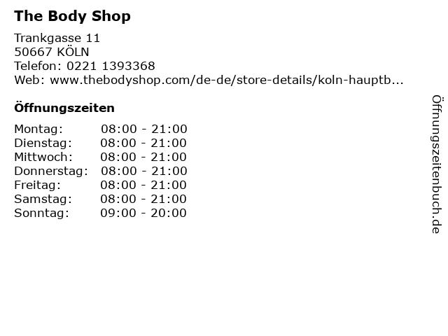 Body Shop in Köln: Adresse und Öffnungszeiten