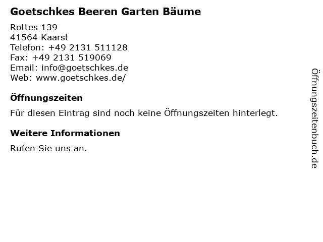 GOETSCHKES Beerenobst, Gartenbau & Hofladen in Kaarst: Adresse und Öffnungszeiten