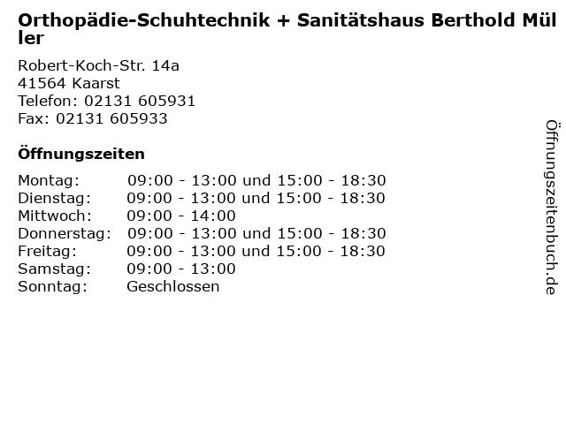 Orthopädie-Schuhtechnik + Sanitätshaus Berthold Müller in Kaarst: Adresse und Öffnungszeiten