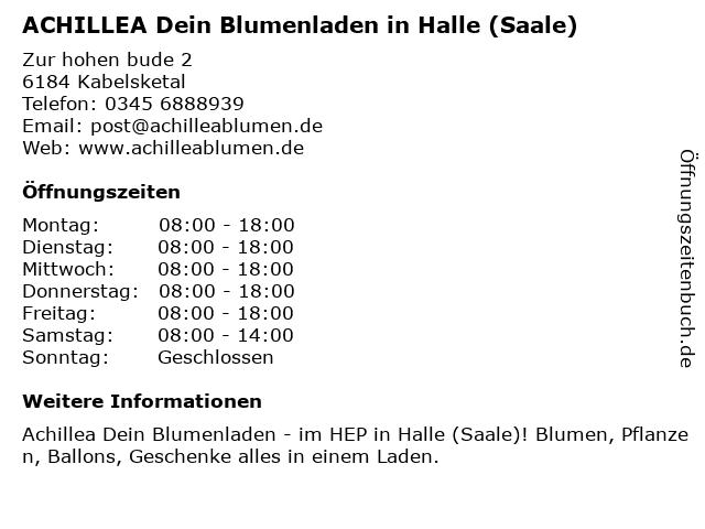 Achillea Dein Blumenladen in Halle (Saale): Adresse und Öffnungszeiten