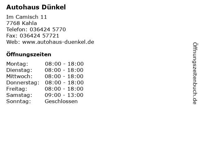 Autohaus Dünkel in Kahla: Adresse und Öffnungszeiten