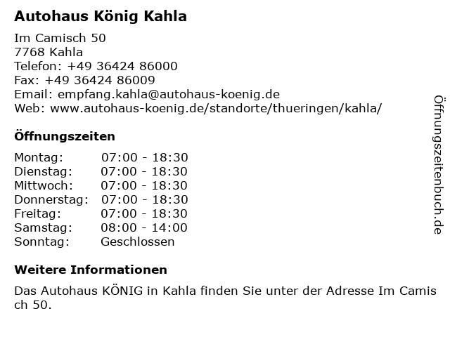 Autohaus König Kahla in Kahla: Adresse und Öffnungszeiten