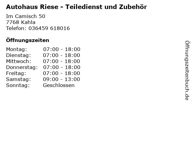 Autohaus Riese - Teiledienst und Zubehör in Kahla: Adresse und Öffnungszeiten