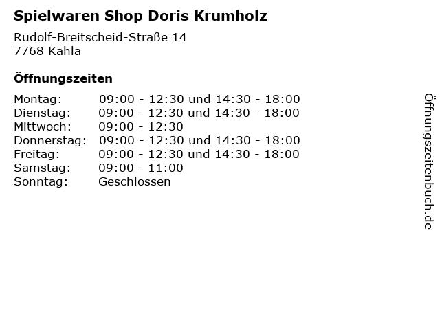 Spielwaren Shop Doris Krumholz in Kahla: Adresse und Öffnungszeiten