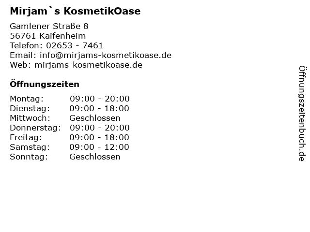 Mirjam`s KosmetikOase in Kaifenheim: Adresse und Öffnungszeiten