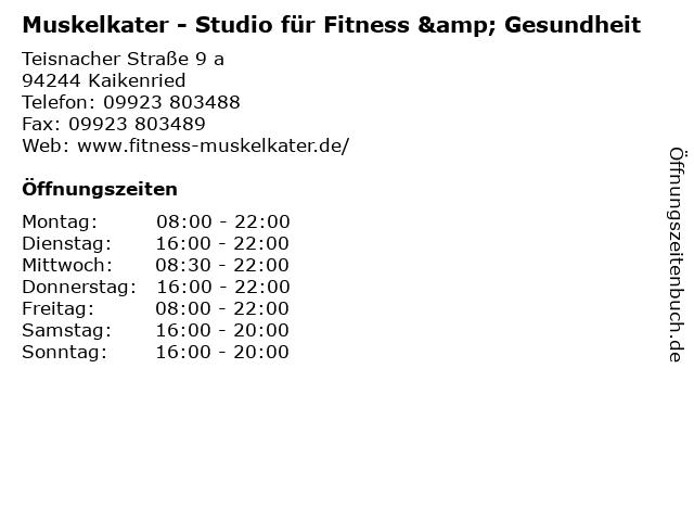 Muskelkater - Studio für Fitness & Gesundheit in Kaikenried: Adresse und Öffnungszeiten