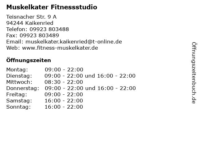 Muskelkater Fitnessstudio in Kaikenried: Adresse und Öffnungszeiten