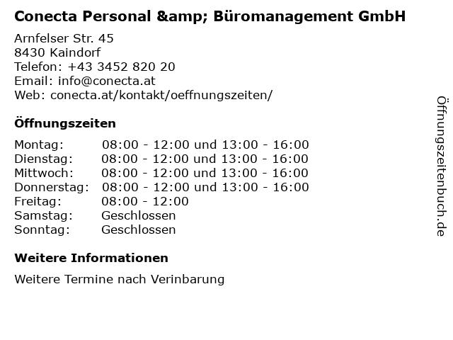 Conecta Personal & Büromanagement GmbH in Kaindorf: Adresse und Öffnungszeiten