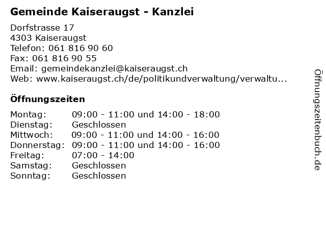 Gemeinde Kaiseraugst - Kanzlei in Kaiseraugst: Adresse und Öffnungszeiten