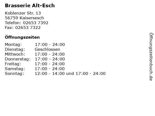 Brasserie Alt-Esch in Kaisersesch: Adresse und Öffnungszeiten