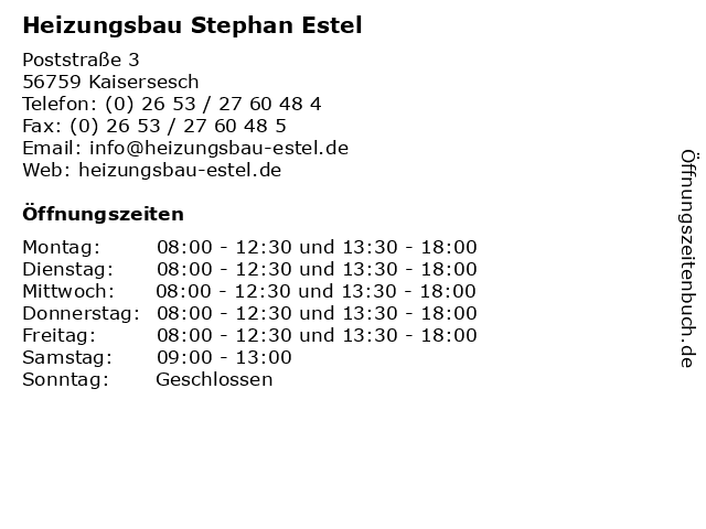 Heizungsbau Stephan Estel in Kaisersesch: Adresse und Öffnungszeiten