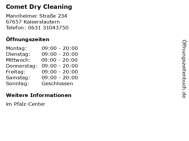 Comet Dry Cleaning in Kaiserslautern: Adresse und Öffnungszeiten