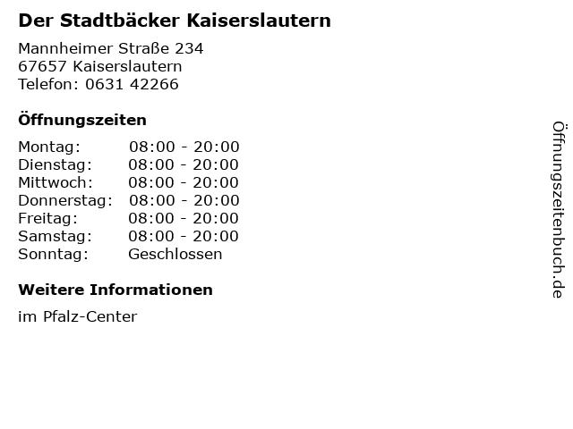 Der Stadtbäcker Kaiserslautern in Kaiserslautern: Adresse und Öffnungszeiten