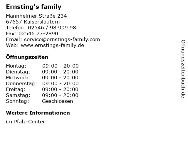 Ernsting's family in Kaiserslautern: Adresse und Öffnungszeiten