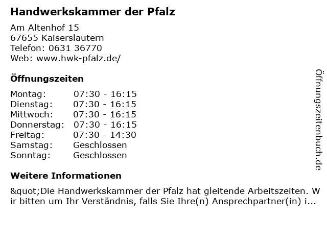 Handwerkskammer der Pfalz in Kaiserslautern: Adresse und Öffnungszeiten