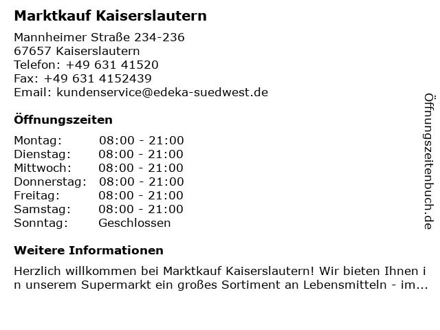 Real Markt in Kaiserslautern: Adresse und Öffnungszeiten