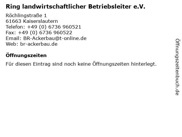 Ring landwirtschaftlicher Betriebsleiter e.V. in Kaiserslautern: Adresse und Öffnungszeiten