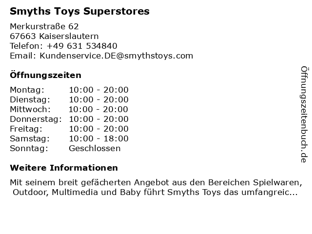 Smyths Toys Superstores in Kaiserslautern: Adresse und Öffnungszeiten
