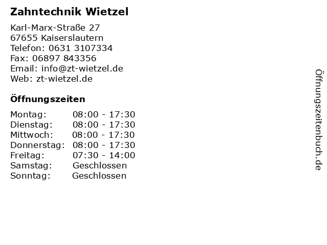 Zahntechnik Wietzel in Kaiserslautern: Adresse und Öffnungszeiten
