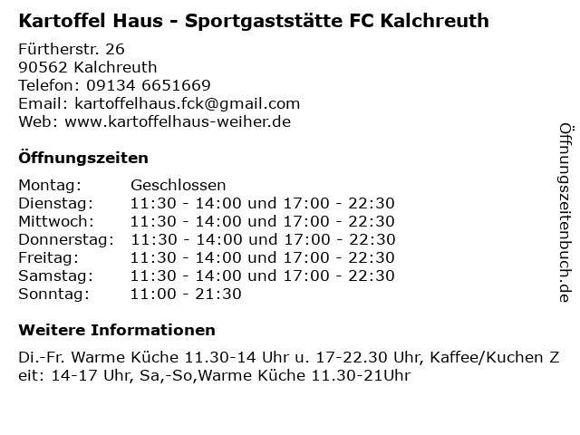 Kartoffel Haus - Sportgaststätte FC Kalchreuth in Kalchreuth: Adresse und Öffnungszeiten
