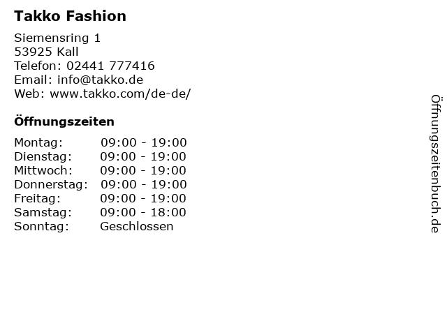 Takko Fashion in Kall: Adresse und Öffnungszeiten