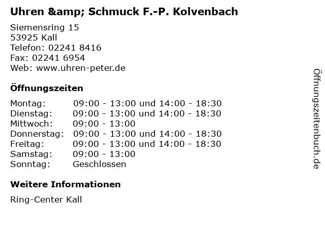 Uhren & Schmuck F.-P. Kolvenbach in Kall: Adresse und Öffnungszeiten