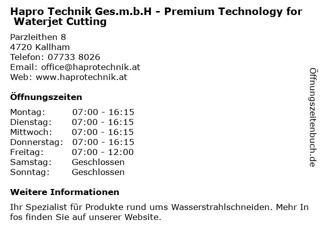 Hapro Technik Ges.m.b.H - Premium Technology for Waterjet Cutting in Kallham: Adresse und Öffnungszeiten