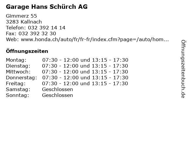 Garage Hans Schürch AG in Kallnach: Adresse und Öffnungszeiten