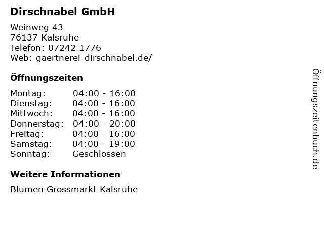 Dirschnabel GmbH in Kalsruhe: Adresse und Öffnungszeiten