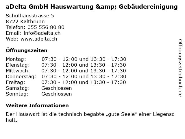 aDelta GmbH Hauswartung & Gebäudereinigung in Kaltbrunn: Adresse und Öffnungszeiten