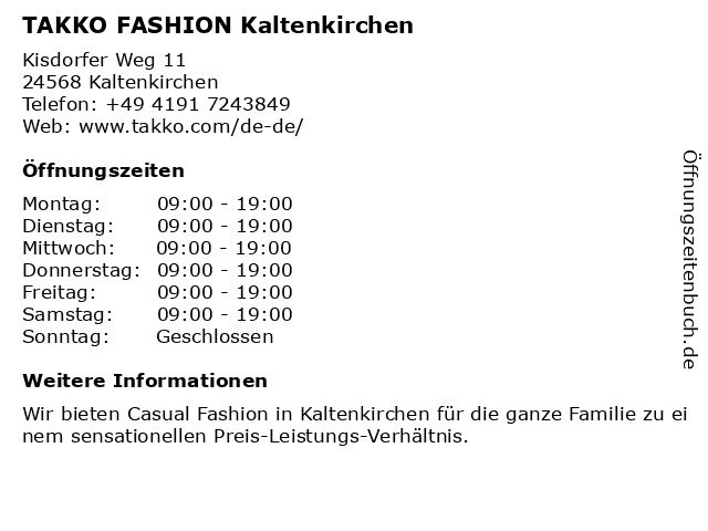 Takko Fashion in Kaltenkirchen: Adresse und Öffnungszeiten