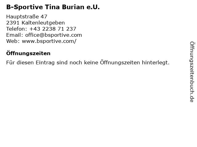 B-Sportive Tina Burian e.U. in Kaltenleutgeben: Adresse und Öffnungszeiten